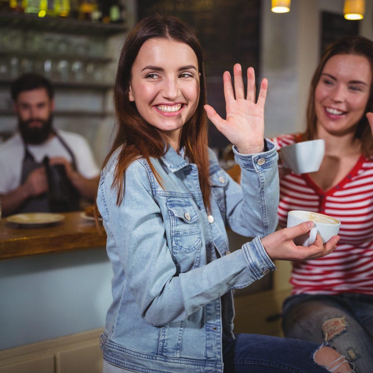 woman coffee waving